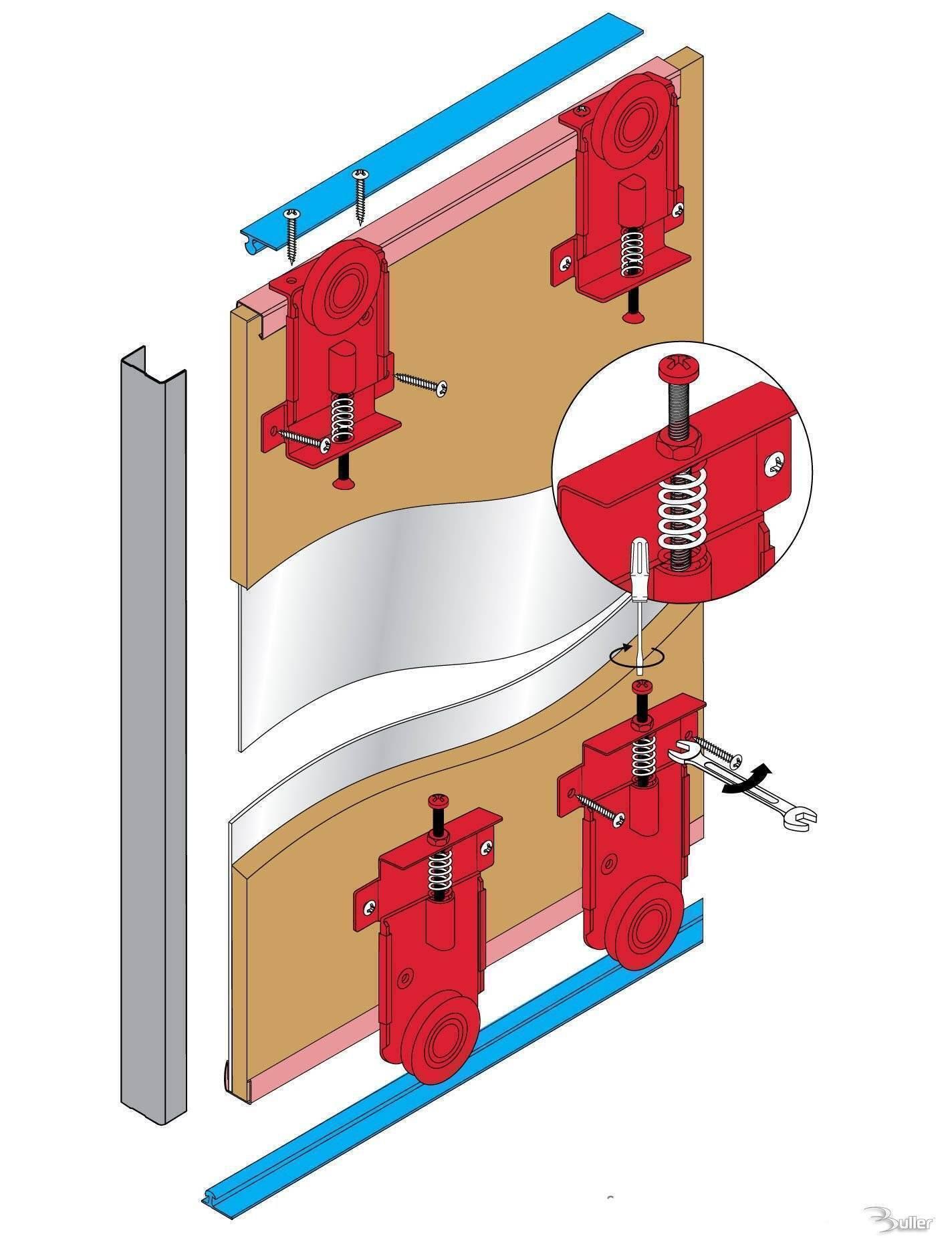 Fastor sliding door gear wardrobe track kit system for 1 4 inch sliding door track
